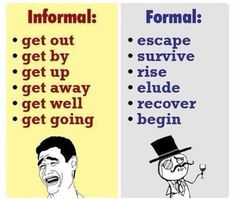 Informal and Formal English: What's the Difference? Informal and Formal English: What's the Difference? Learn English Grammar, English Writing Skills, English Vocabulary Words, Learn English Words, Grammar And Vocabulary, English Phrases, English Language Learning, English Study, English Lessons