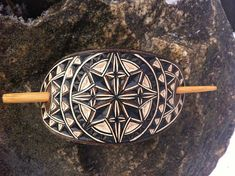 Geometric hand carved leather hair barrette  tooled leather