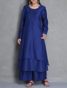 Royal Blue Layered Asymmetric Cotton Silk Kurta