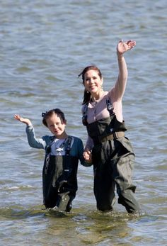 Princess Isabella and Crown Princess Mary waded into the water during a visit to Samsø Island, June 6, 2015