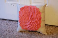 Rose Pillow in Coral from Etsy