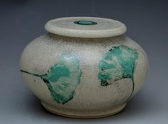 Ceramic Artful Urn for Cremation or Decoration in Ginkgo Crackle Glaze by earthtoartceramics on Etsy