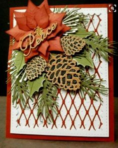 card christmas poinsettia pine cone pine branch fishnet cover up stampwithk: Christmas in July Poinsettia Cards, Christmas Poinsettia, Stampin Up Christmas, Christmas Cards To Make, Christmas In July, Xmas Cards, Handmade Christmas, Holiday Cards, Christmas Crafts