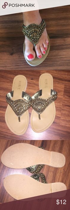 Beautiful Beaded Sandals size 8 1/2 Beautiful Beaded Sandals. Size 8 1/2. Super comfy and lightweight. In excellent condition. Only worn once. Mix it Shoes Sandals