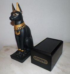 Vtg Franklin Mint Black Porcelain Guardian of The Nile Egyptian Spinx Figurine | eBay
