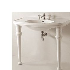 "Whitehaus BTZ44-GB001 China 41-1/4"" U-Shaped Bathroom Console Sink with Oval Bowl in White"