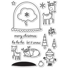 Memory Box Clear Stamps SNOWGLOBE WISHES Open Studio CL5180
