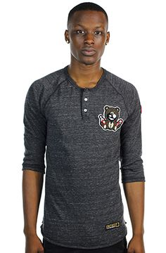 CLASSIC TEDDY Charcoal Organic Henley by Entree LS