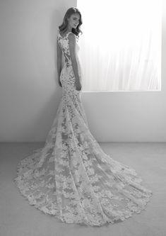 Rua Wedding Dress from Atelier Pronovias Mermaid Wedding Dress With Sleeves, Lace Wedding Dress, Perfect Wedding Dress, Lace Dress, Dresses With Sleeves, Wedding Dresses, Pronovias Wedding Dress, Designer Wedding Gowns, Lace Applique