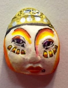 Handmade ceramic clay face baby oddity  tile jewelry by pinksupply