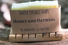 Honey and Oatmeal Soap - this honey and oatmeal soap uses only all natural ingredients and is a gentle, exfoliating soap with a rich, creamy lather - https://www.shafersprings.com/product/honey-and-oatmeal-soap/