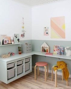 60 Fun Kids Playroom Ideas to Inspire You Best Kids Playroom Ideas for. - 60 Fun Kids Playroom Ideas to Inspire You Best Kids Playroom Ideas for You Kids Playroom - Trofast Ikea, Kids Room Design, Playroom Design, Kid Spaces, Kids Desk Areas, Kids Desk Space, Play Spaces, Small Spaces, Decor Room