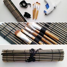 Grab those old bamboo placemats and whip up an Upcycled No Sew MakeUp Brush Roll in minutes with this super simple DIY tutorial! Simple Diy, Easy Diy, Super Simple, Diy Beauty Tutorials, Cardboard Cat Scratcher, Makeup Brush Roll, Homemade Alcohol, Diy Cardboard, Sewing Hacks