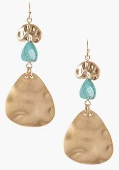 Hammered Metal  Turquoise Earring