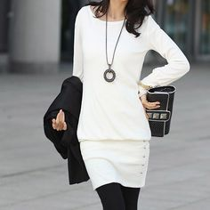 Stylish Slim Fit Scoop Neck Women's Long Sleeve Dresses