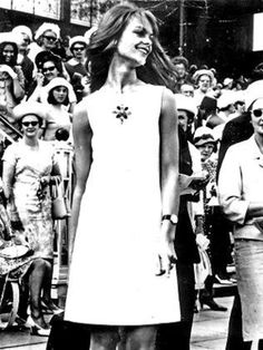 British model Jean Shrimpton in her mini dress at Flemington racecourse on 1965 Derby Day.