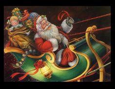 Christmas cards with a vintage and modern Santa theme. Merry Christmas Santa, Old Christmas, Old Fashioned Christmas, Santa And Reindeer, Beautiful Christmas, Father Christmas, Santa Sleigh, Christmas Stuff, Christmas Holidays