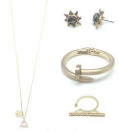 #‎GorgeousGolds‬ now on www.LBmint.com  The Jamie Earring, The Hali Ring, The Chelsea Necklace and The Chelsea Bracelet