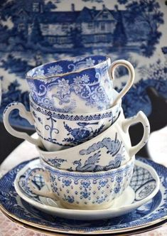 Blue And White China, Blue China, Vintage Dishes, Vintage China, Vintage Cups, Antique China, Delft, Chinoiserie, White Tea Cups