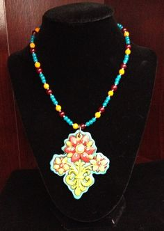 Handpainted floral pendant on beaded necklace by Justfashionating, $24.95