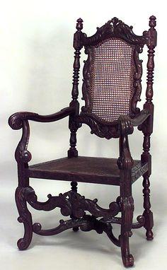 English Jacobean seating chair/arm chair-pair walnut
