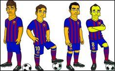 Neymar, Messi, Iniesta and Xavi (Simpsons)