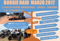 Buggie & Quad Raid - sur de Marruecos MAR´17 7 al 12 de marzo - 6 días de aventura entre Pistas de Montaña - Hamadas y dunas Melilla - Merzouga - Dades - Zagora - Merzouga - Melilla Ya tenemos preparada nuestra escapada de Buggie y Quad para el mes de marzo. Una aventura de 6 dias, para iniciados que quieran participar con nosotros. Es posible realizar la... #aventuraenbuggies #aventuraenquad