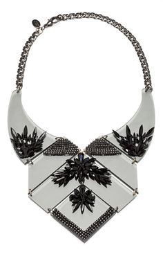 Erickson Beamon Who Are You? Black Geometric Bib Necklace at Moda Operandi