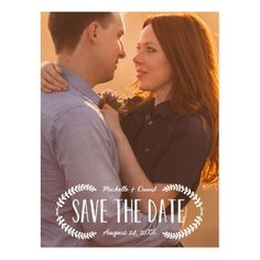 Country Wedding Save the Date Rustic Laurel | Photo Save the Date Postcard