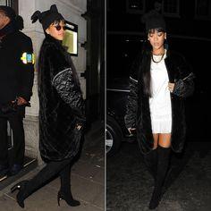 Rihanna wearing Simone Rocha white pearl embellished dress, Nicholas Kirkwood suede pearl boots, Adam Selman beanie hat, Fallon herringbone ...