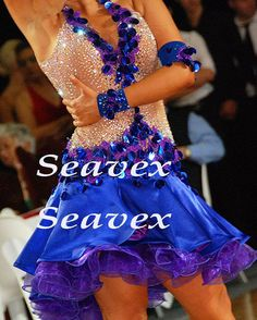 U4663 competition Ballroom women rumba Latin salsa chacha rumba dance dress US 8 #seahunter