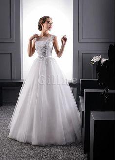 Robe de mariée delicat en tulle appliques col en bateau avec perle