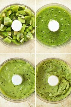 Sorbet kiwi - recette facile - la cuisine de Nathalie - La cuisine de Nathalie_ 6 kiwis 160 g de sucre en poudre 12,5 cl d'eau Le jus d'un demi-citron