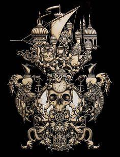 Viaggio del Matto - 2013 da Joe Fenton, via Behance Arte Alien, Mc Escher, Design Graphique, Hieronymus Bosch, Terry Gilliam, Skull And Bones, Psychedelic Art, Halloween Art, Skull Art