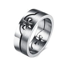 Stainless Steel Four Leaf Clover Heart Hexagon Crest Flat Top Biker Style Polished Ring