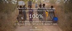 We believe access to clean water is a human right and are working with Water For People to be a part of the solution. SMITH & STARR donates 1% of every bag sold to Water For People and in honor of World Water Day tomorrow 100% of proceeds of The Conway will go to Water For People.