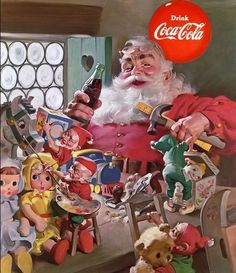 """n 1931, the D'Arcy Advertising Agency commissioned Michigan-born illustrator Haddon Sundblom to envision a new look for the Coca-Cola Santa. He used Clement Clark Moore's 1822 poem """"A Visit from St. Nicholas"""" as inspiration. In the poem, St Nick is described as being chubby plump jolly old elf with a """"tiny round belly"""" that """"shook when he laughed liker a bowlful of jelly."""""""