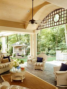 Covered Lanai: What a wonderful way to extend the living space of the home! I like that I could bring the same polished casual feel from inside the home out into a space like this. The furniture just begs you to sit and enjoy a cool drink on a warm day.