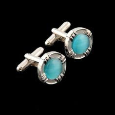 Turquoise Inset Round Formal Groomsmen Groom Wedding Mens Cufflinks