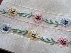 Vintage Antique Towel Linen Embroidery Flowers