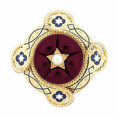 Victorian Garnet Brooch with Inset Star Motif and Pearl. Photo Courtesy of Lang Antiques.
