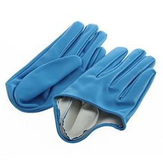 Women's Faux Leather Five Finger Half Palm Gloves (Blue) ...