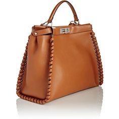 Fendi Peekaboo Satchel (20.475 RON) ❤ liked on Polyvore featuring bags, handbags, handle satchel, satchel handbags, fendi handbags, brown handbags and strap purse