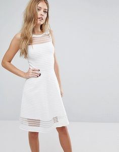 French Connection Tobey white Crepe Knit Dress asos