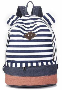 Eshops Girls Backpack Schoolbag for School Cute Rabbit Ear Canvas Bookbag (Blue)