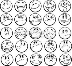 Vector illustration of Coloring book of emotional faces Cartoon Faces, Funny Faces, Cartoon Drawings, Graffiti Lettering Fonts, Emotion Faces, Graffiti Cartoons, Line Texture, Sketch Notes, Doodle Drawings