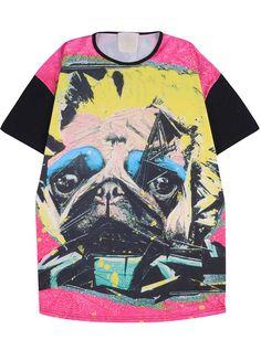 Multi Short Sleeve Cartoon Dogs Print T-Shirt - Sheinside.com