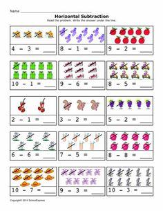 FREE worksheets, create your own worksheets, games. Kindergarten Addition Worksheets, Subtraction Kindergarten, Subtraction Worksheets, Kindergarten Math Worksheets, Preschool Math, Math Books, Classroom Rules, Skills To Learn, Math For Kids