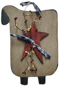 """Grungy Primitive Sheep Plaque Star & Pip berries Classic Country Home Decor 11"""""""