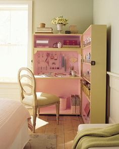 Girls' Bedroom Ideas -  Corner Office  Transform bookcases into a workspace that can be hidden away between projects.